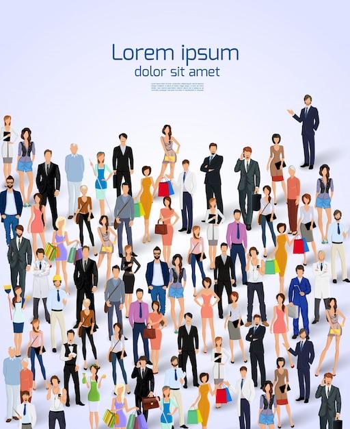 Gruppe von Menschen erwachsene Profis Poster Vektor-Illustration. Kostenlose Vektoren
