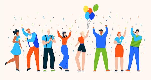 Gruppe von menschen feiern feiertag auf party Premium Vektoren