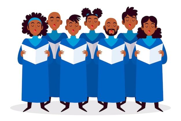 Gruppe von menschen im gospelchor illustriert Kostenlosen Vektoren