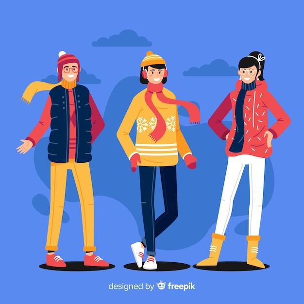Gruppe von menschen in winterkleidung Kostenlosen Vektoren
