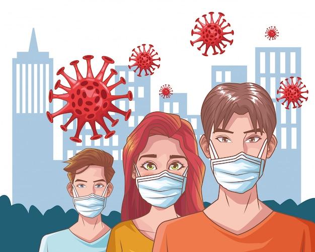 Gruppe von menschen mit coronavirus-szene Premium Vektoren