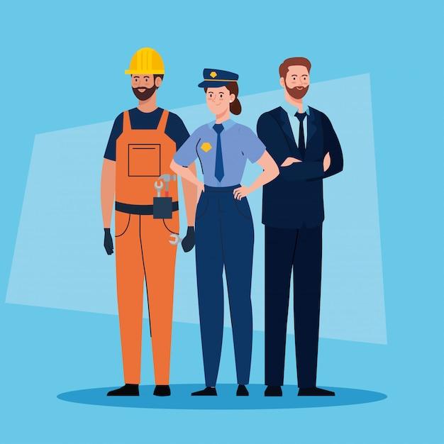 Gruppe von menschen verschiedener berufe vektor-illustration design Premium Vektoren
