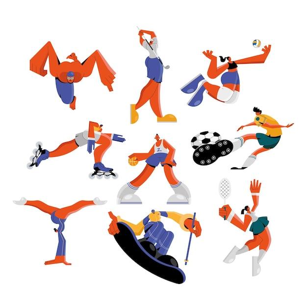 Gruppe von neun athleten, die sportfiguren üben Premium Vektoren