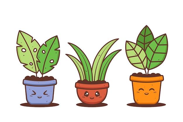 Gruppe von niedlichen topf der pflanze mit verschiedenen ausdruck Premium Vektoren