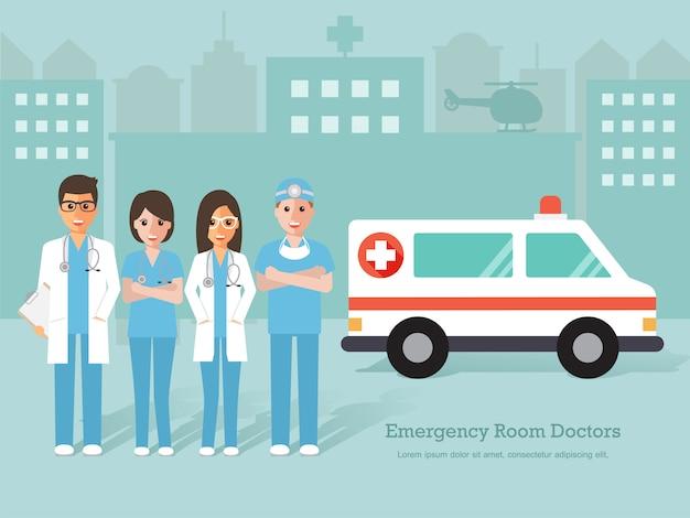 Gruppe von notarztpraxen und krankenschwestern und medizinischem personal. Premium Vektoren