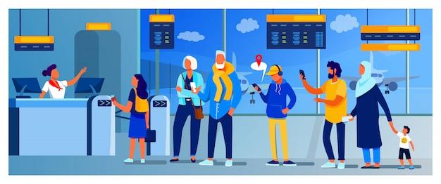 Gruppe von passagieren, die in der warteschlange stehen, um zu kontern Kostenlosen Vektoren
