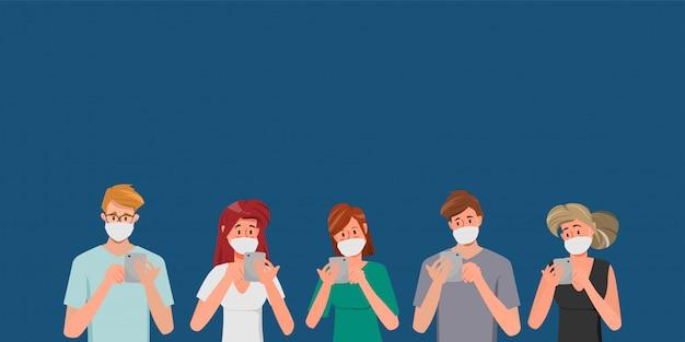 Gruppe von personen, die eine schutzmaske als schutz-coronavirus tragen. Premium Vektoren