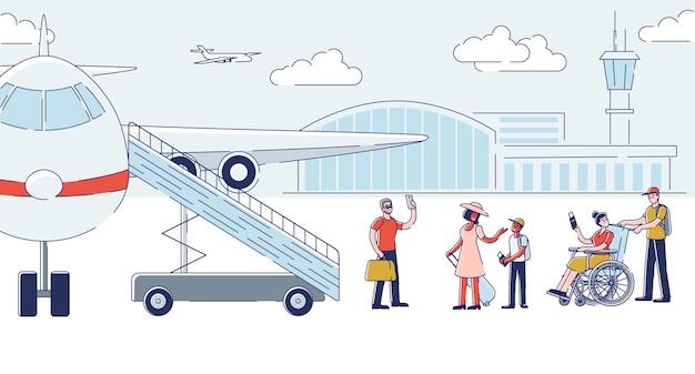 Gruppe von personen, die flugzeug für abflug einsteigen. karikaturpassagiere, die flugzeug halten, das gepäck vor der reise hält Premium Vektoren