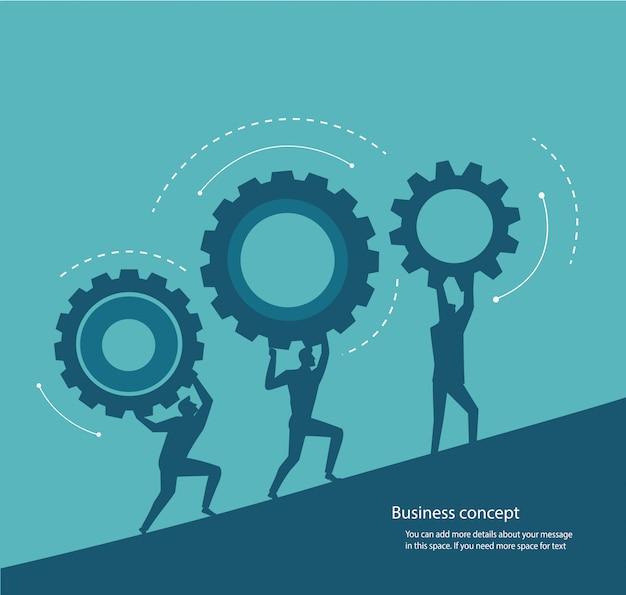 Gruppe von personen, die gangkonzept der innovation hält Premium Vektoren