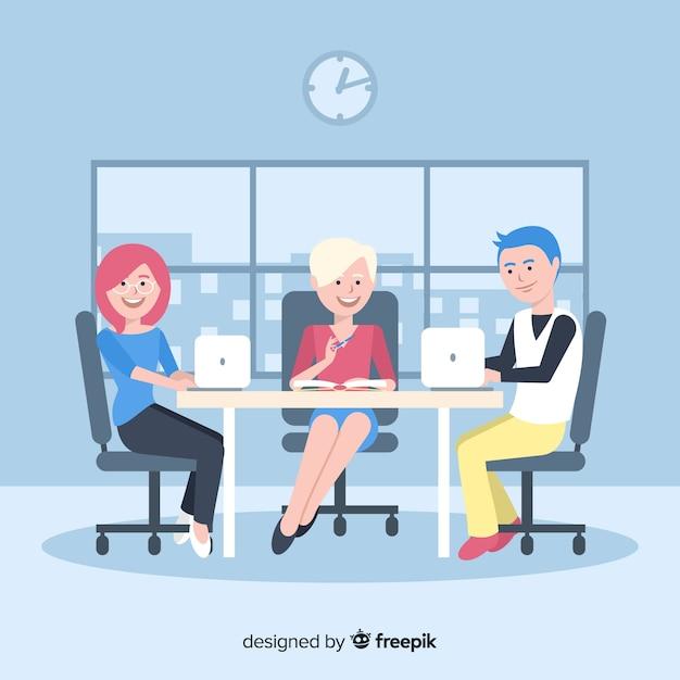Gruppe von personen, die im büro arbeitet Kostenlosen Vektoren