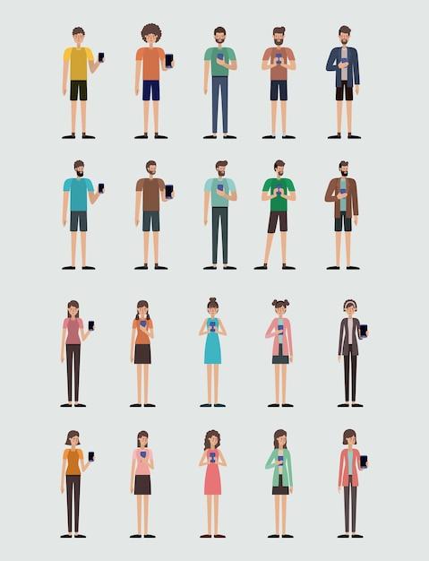 Gruppe von personen, die smartphonevektor-illustrationsdesign verwendet Premium Vektoren