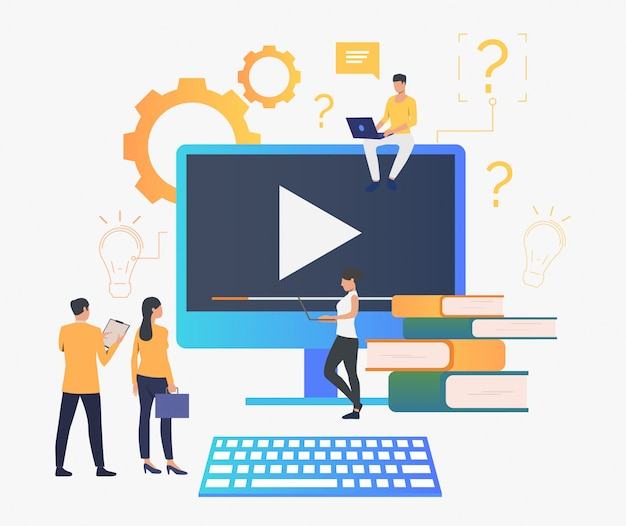 Gruppe von personen, die video erstellt Kostenlosen Vektoren