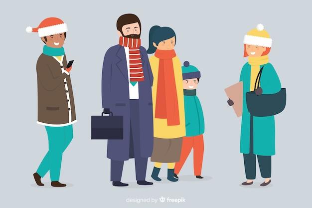Gruppe von personen, die winterkleidung trägt Kostenlosen Vektoren