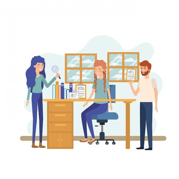 Gruppe von personen im arbeitsbüro Premium Vektoren