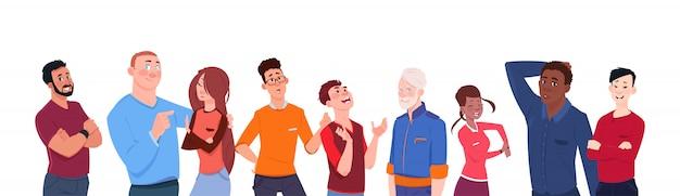 Gruppe von personen-mischungs-rennen-karikatur des unterschiedlichen alters lokalisiert auf weißer hintergrund-horizontaler fahne Premium Vektoren