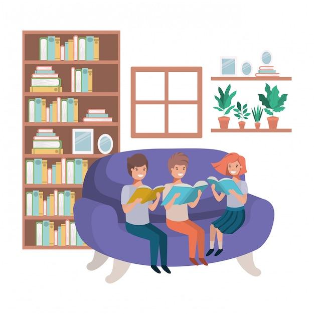 Gruppe von personen mit buch im wohnzimmeravataracharakter Premium Vektoren