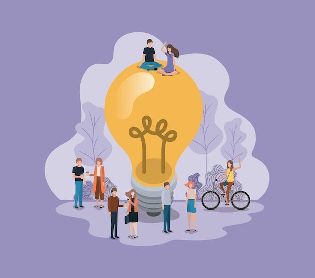 Gruppe von personen mit glühlampenavataracharakter Premium Vektoren