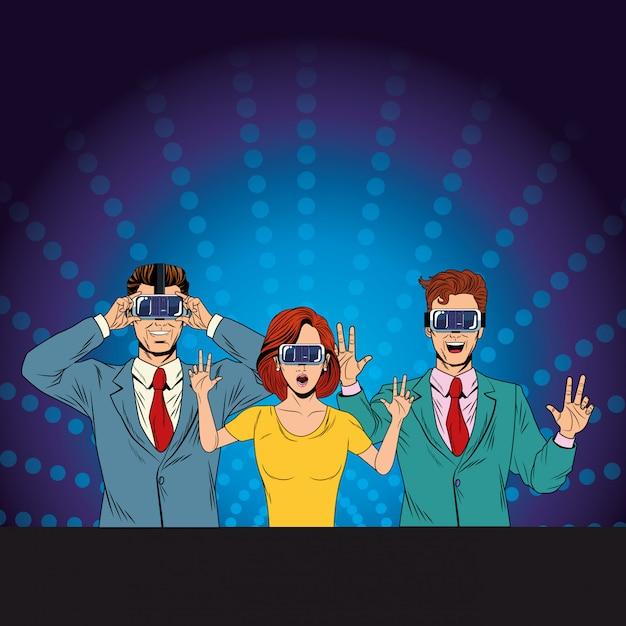 Gruppe von personen mit kopfhörer der virtuellen realität Premium Vektoren