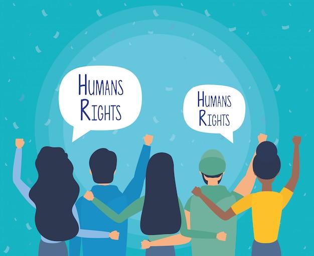 Gruppe von personen ziehen sich mit menschenrechtsblasenvektor-illustrationsdesign zurück Kostenlosen Vektoren