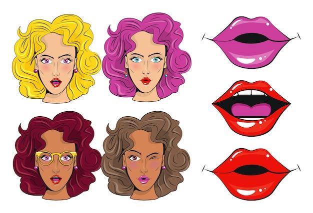 Gruppe von schönen mädchenfiguren und sexi münder pop-art-stil poster. Premium Vektoren