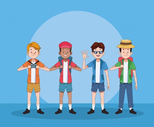 Gruppe von touristen männer zeichen Premium Vektoren