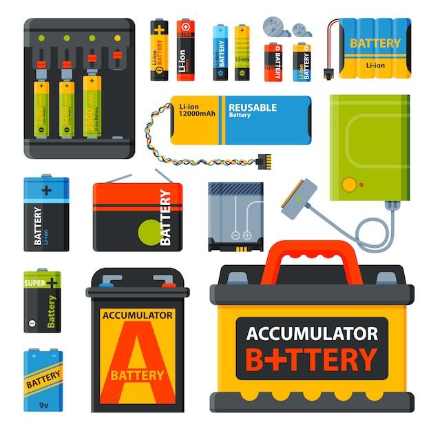 Gruppe von verschiedenen batterien Premium Vektoren