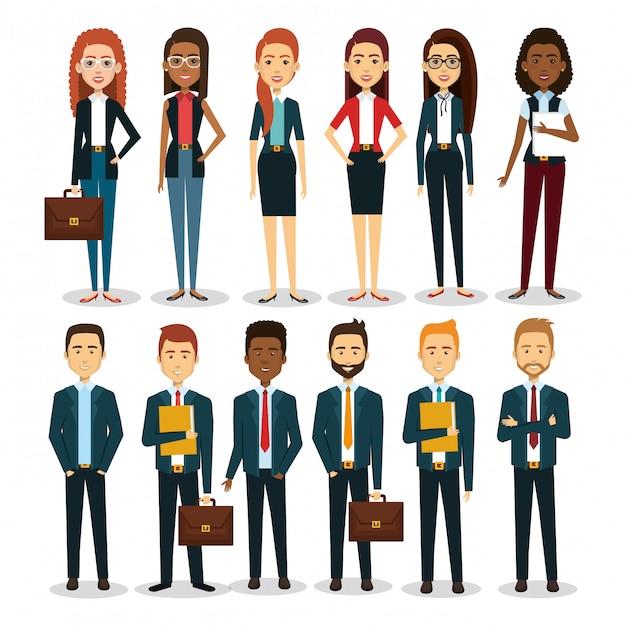 Gruppe wirtschaftler mit portfolioteamwork-illustration Kostenlosen Vektoren