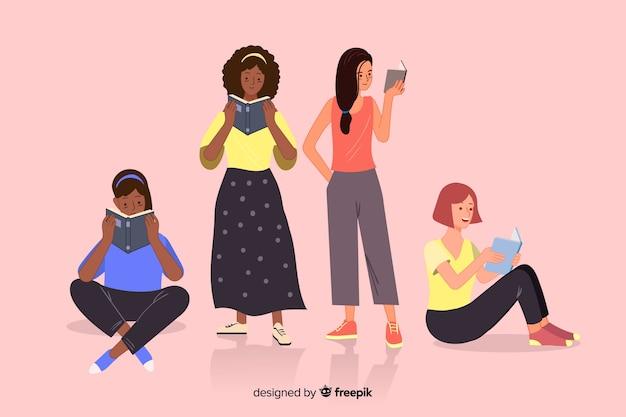 Gruppe youngs illustrationsdesign lesend Kostenlosen Vektoren
