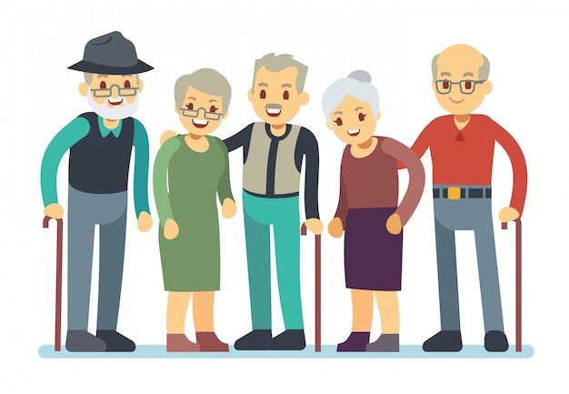 Gruppe zeichentrickfilm-figuren der alten leute. glückliche ältere freundvektorabbildung Premium Vektoren