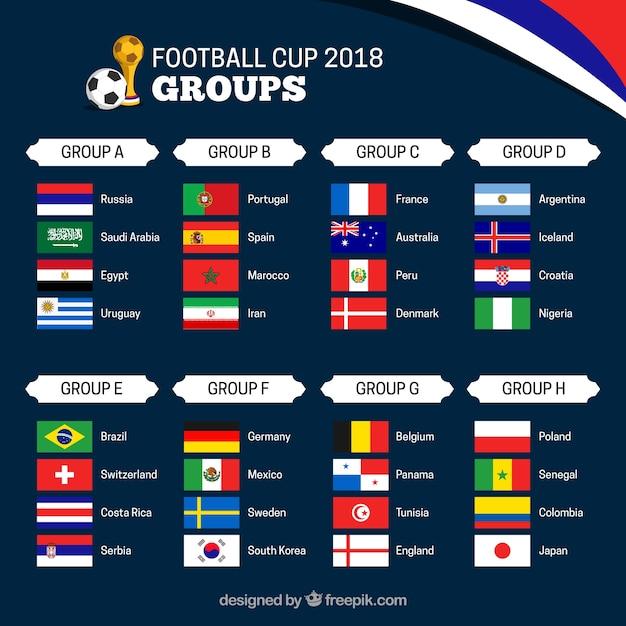 Gruppen der Fußballweltmeisterschaft mit verschiedenen Flaggen Kostenlose Vektoren
