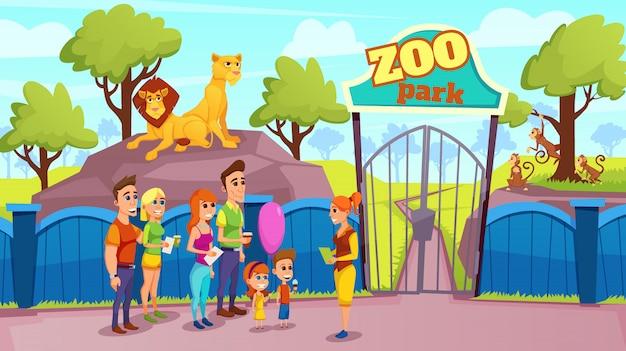 Gruppen-lächelnde leute und führer am zoo-tor-vektor Premium Vektoren