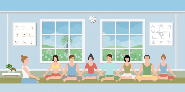 Gruppen von menschen, die meditation üben. Premium Vektoren