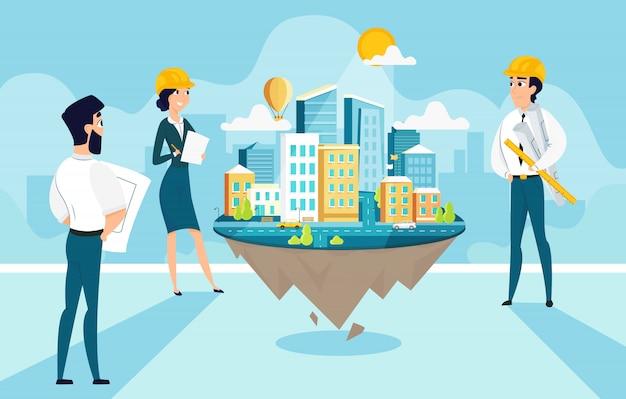 Gruppenarchitekten erstellen und engineering-projekt der stadt Premium Vektoren