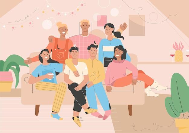 Gruppenporträt von freunden zu hause party Premium Vektoren