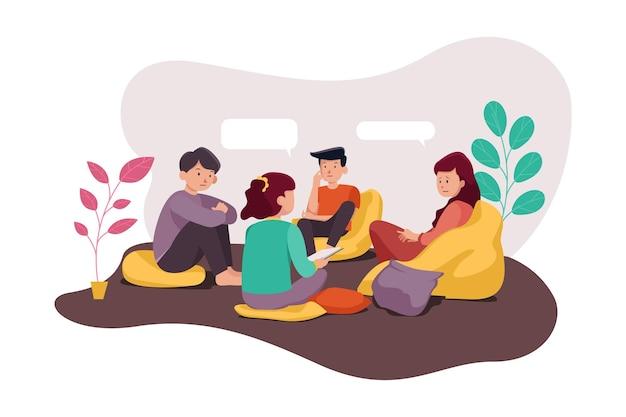 Gruppentherapie illustration Premium Vektoren