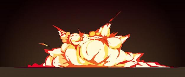 Gruppieren sie explosion nachts retro- karikatur mit heller flamme farbigen explosionen gegen schwarze hintergrundvektorillustration Kostenlosen Vektoren