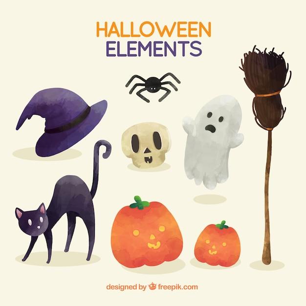 Gruselige Halloween-Elemente mit Aquarell gemalt | Download der ...