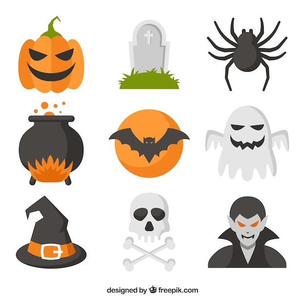 Gruselige Halloween-Elemente mit flachem Design | Download der ...