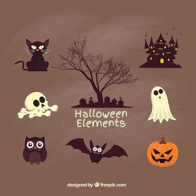 Gruselige halloween-elemente Kostenlosen Vektoren