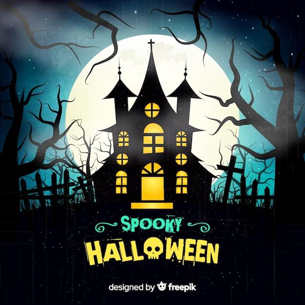 Gruseliger halloween-hintergrund mit realistischem design Kostenlosen Vektoren