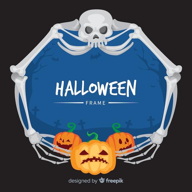 Gruseliger halloween-rahmen mit flachem design Kostenlosen Vektoren