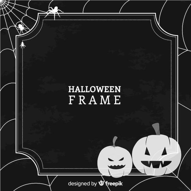 Gruseliger halloween-rahmen mit weinleseart Kostenlosen Vektoren