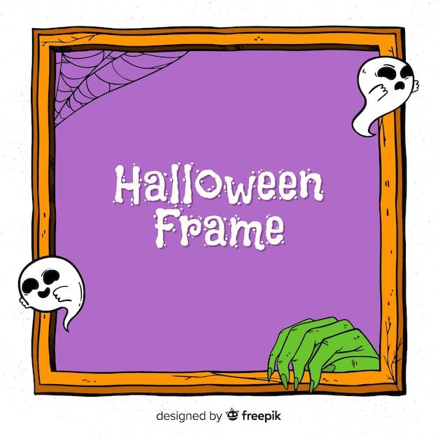 Gruseliger hand gezeichneter halloween-rahmen Kostenlosen Vektoren
