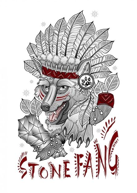 Gruseliger schamanenwolf mit einer steinaxt Premium Vektoren