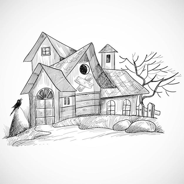 Gruseliges bauernhandhandskizzenentwurf des halloween Kostenlosen Vektoren
