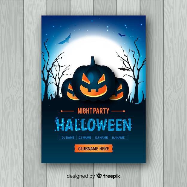 Gruseliges halloween-partyplakat mit realistischem design Premium Vektoren