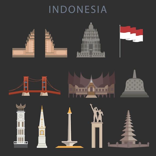 Gruß des indonesien-unabhängigkeitstag-flachen art Premium Vektoren