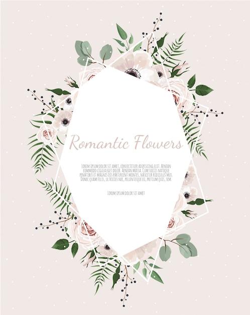 Gruß, postkartenhochzeit laden schablone ein. eleganter rahmen mit rose und anemone Premium Vektoren