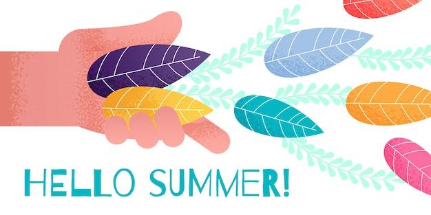 Gruß-sommer-fahne mit der menschlichen hand, die blätter wirft Premium Vektoren