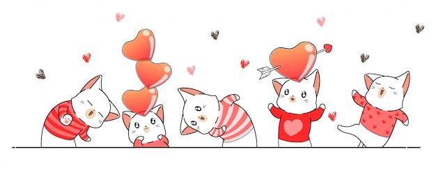 Grußfahne mit katzencharakteren für valentinstag Premium Vektoren